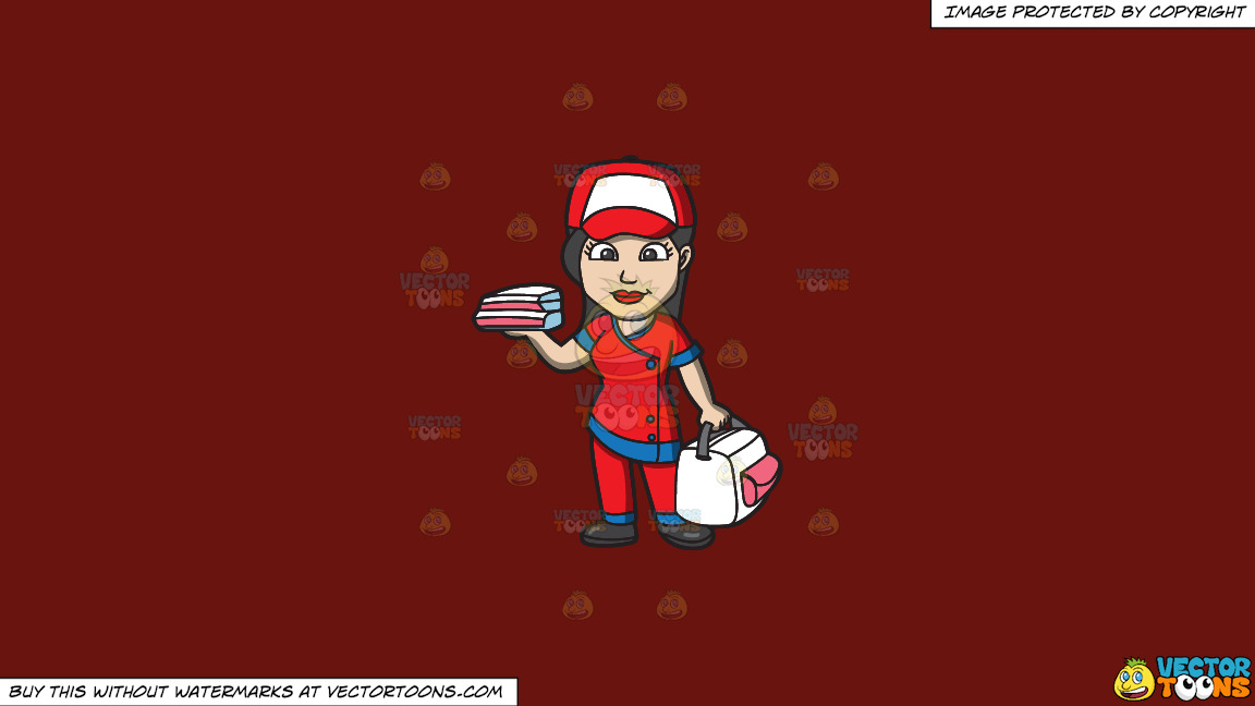 A Pizza Delivery Girl On A Solid Maroon 69140e Background thumbnail