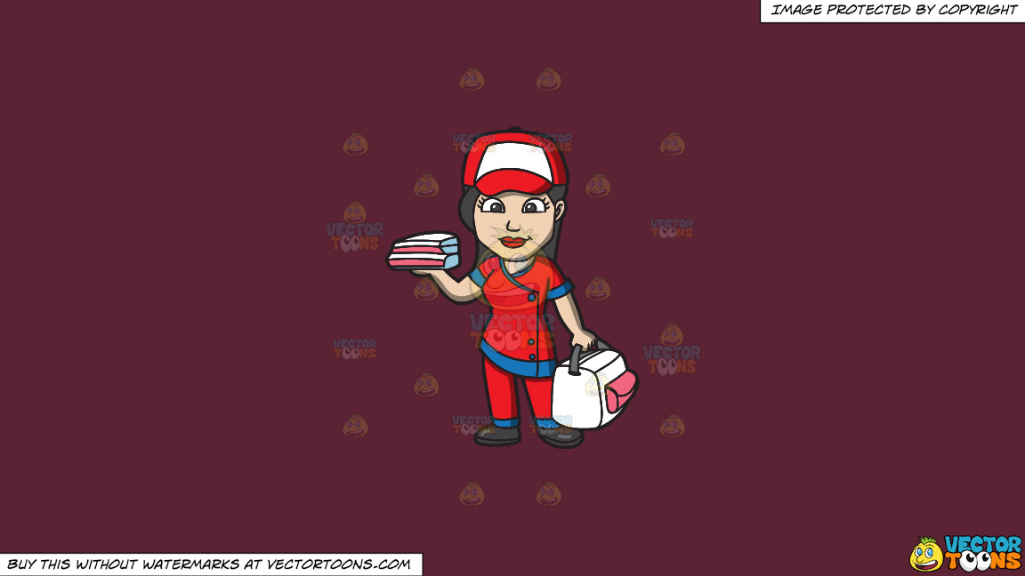 A Pizza Delivery Girl On A Solid Red Wine 5b2333 Background thumbnail