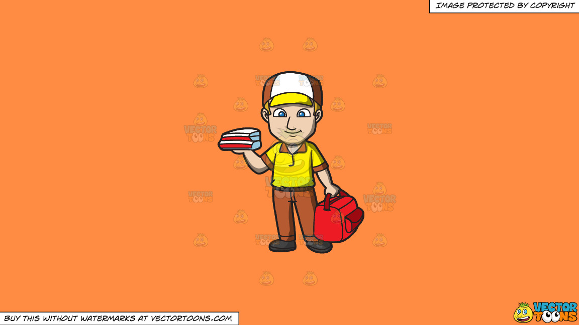 A Pizza Delivery Guy On A Solid Mango Orange Ff8c42 Background thumbnail