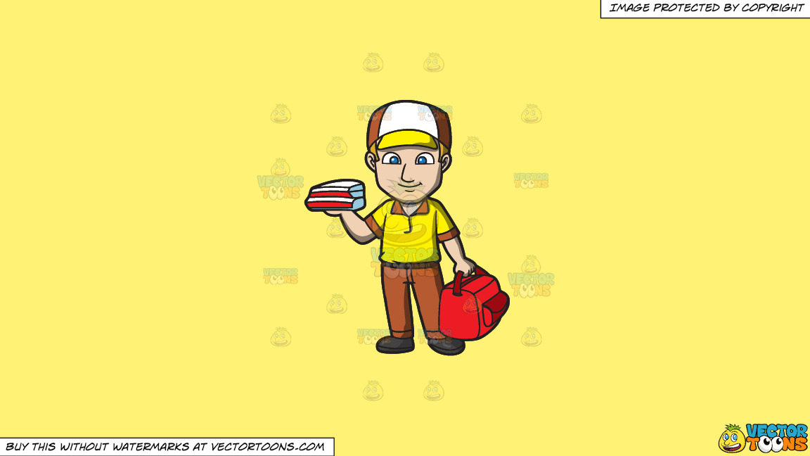 A Pizza Delivery Guy On A Solid Sunny Yellow Fff275 Background thumbnail
