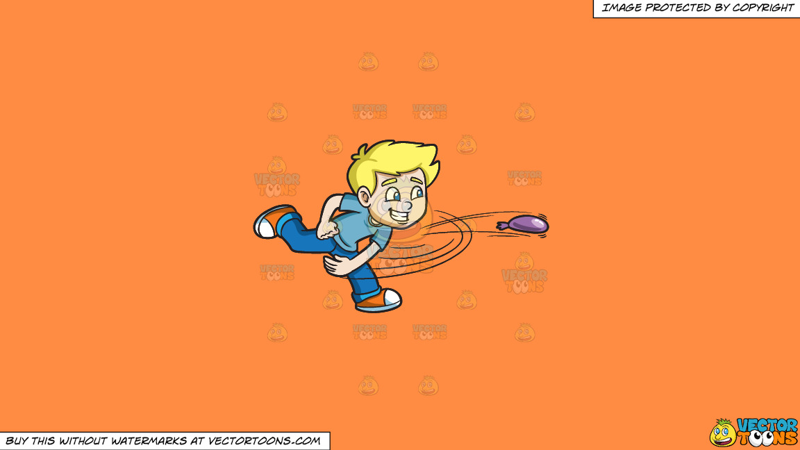 A Playful Boy Pitches A Water Balloon On A Solid Mango Orange Ff8c42 Background thumbnail
