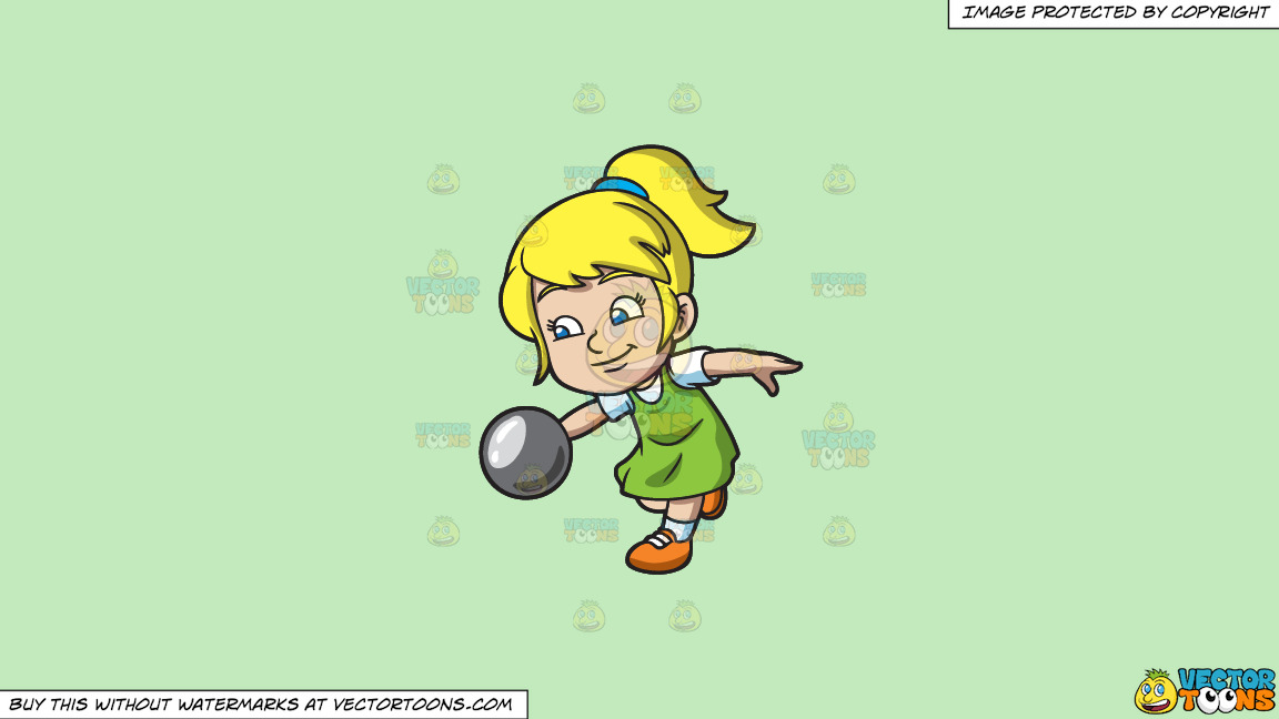 A Playful Young Girl Enjoying The Game Of Bowling On A Solid Tea Green C2eabd Background thumbnail