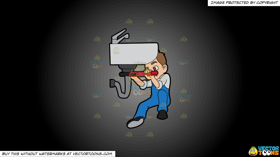 A Plumber Fixing A Bathroom Pipe On A Grey And Black Gradient Background thumbnail