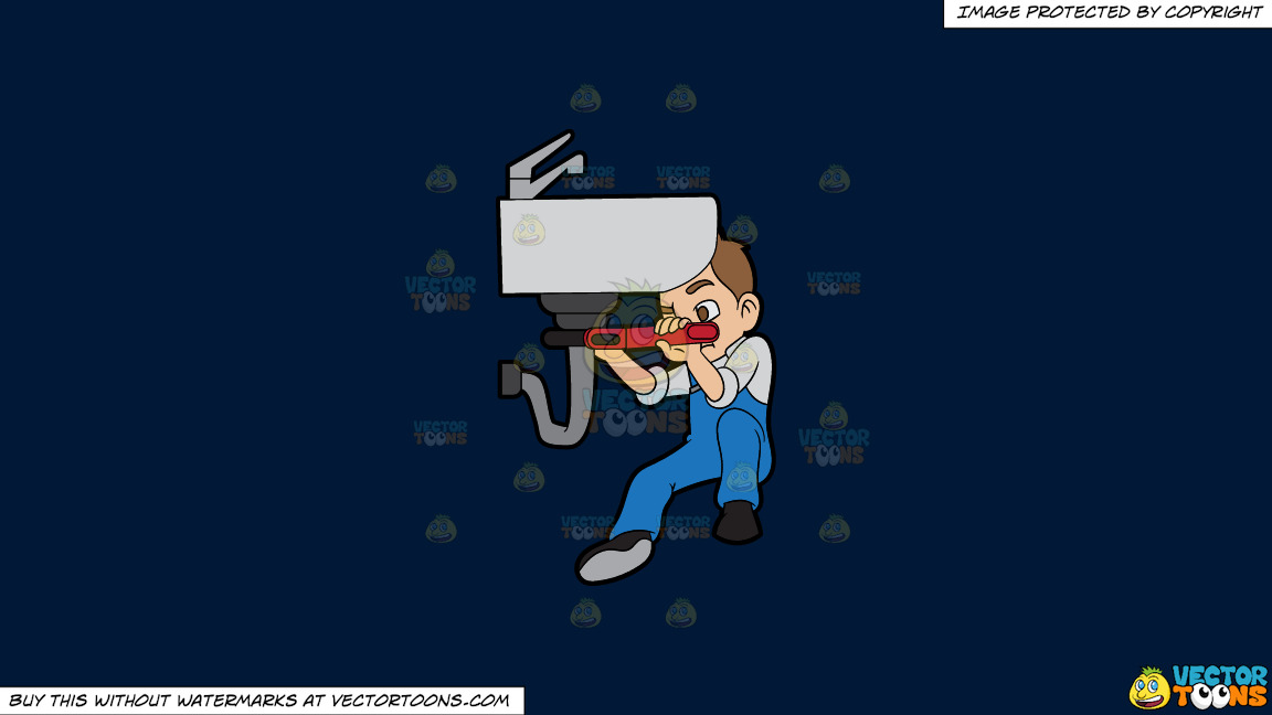 A Plumber Fixing A Bathroom Pipe On A Solid Dark Blue 011936 Background thumbnail