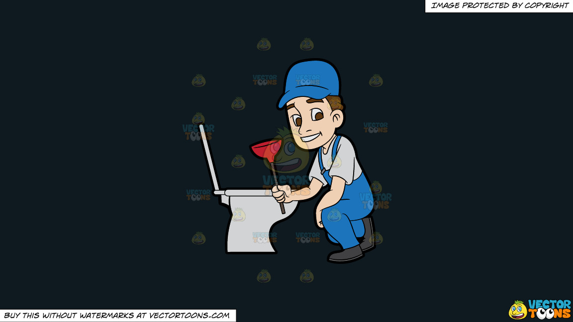 A Plumber Fixing A Clogged Toilet On A Solid Off Black 0f1a20 Background thumbnail