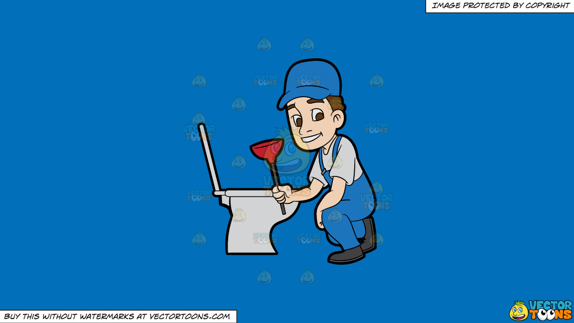 A Plumber Fixing A Clogged Toilet On A Solid Spanish Blue 016fb9 Background thumbnail