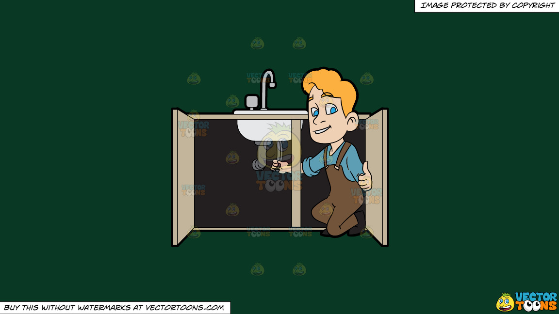 A Plumber Fixing A Kitchen Sink On A Solid Dark Green 093824 Background thumbnail