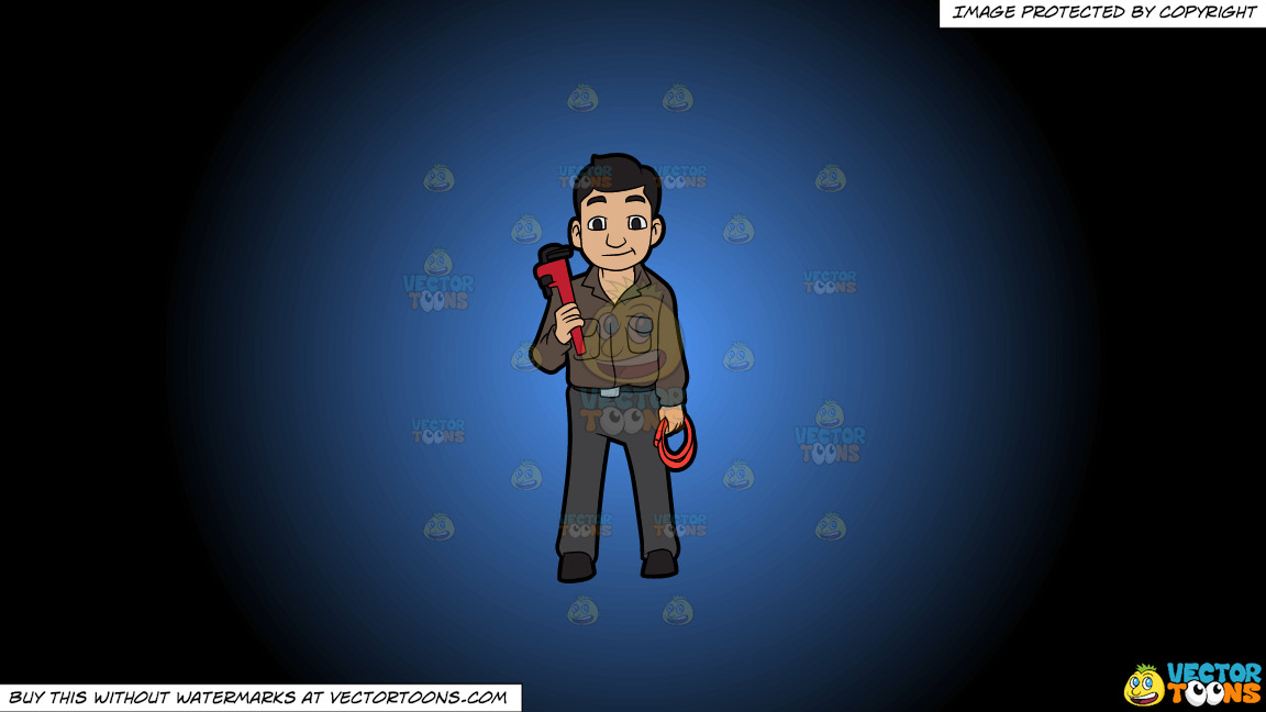 A Plumber Holding A Hose And A Wrench On A Blue And Black Gradient Background thumbnail