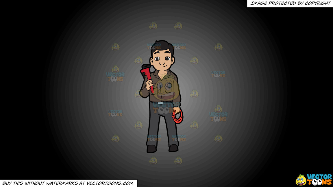 A Plumber Holding A Hose And A Wrench On A Grey And Black Gradient Background thumbnail