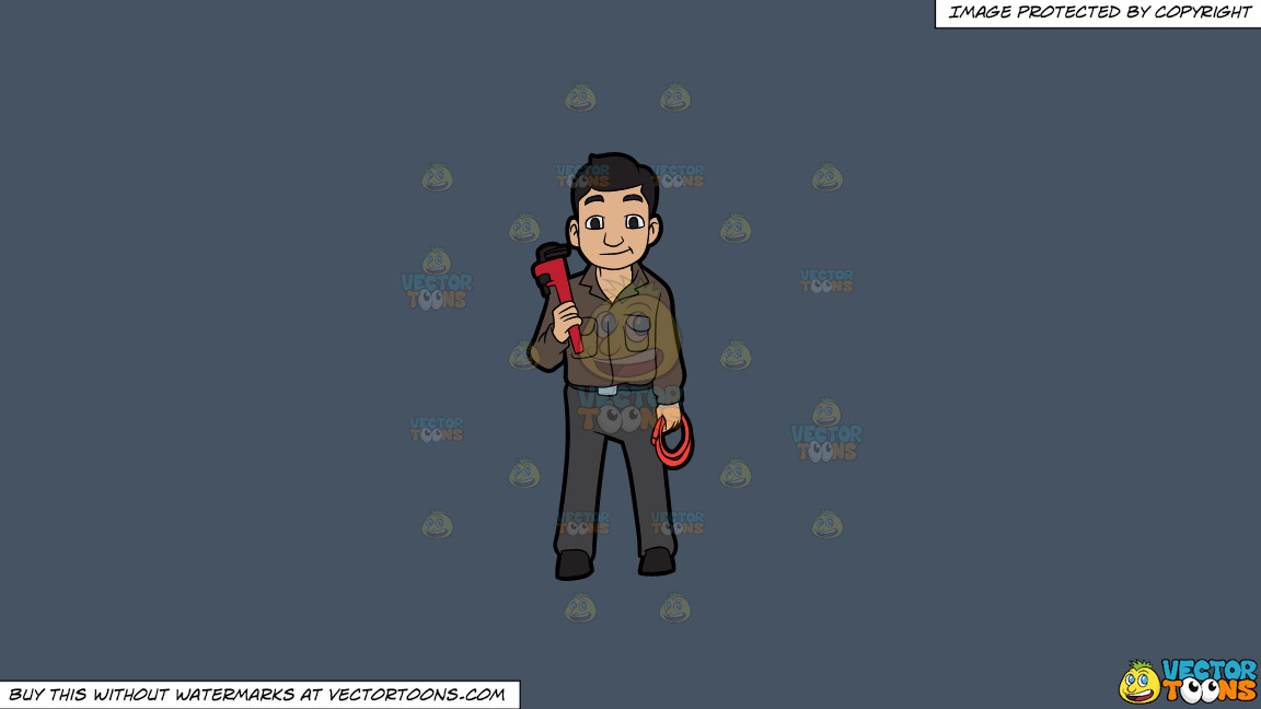A Plumber Holding A Hose And A Wrench On A Solid Metal Grey 465362 Background thumbnail