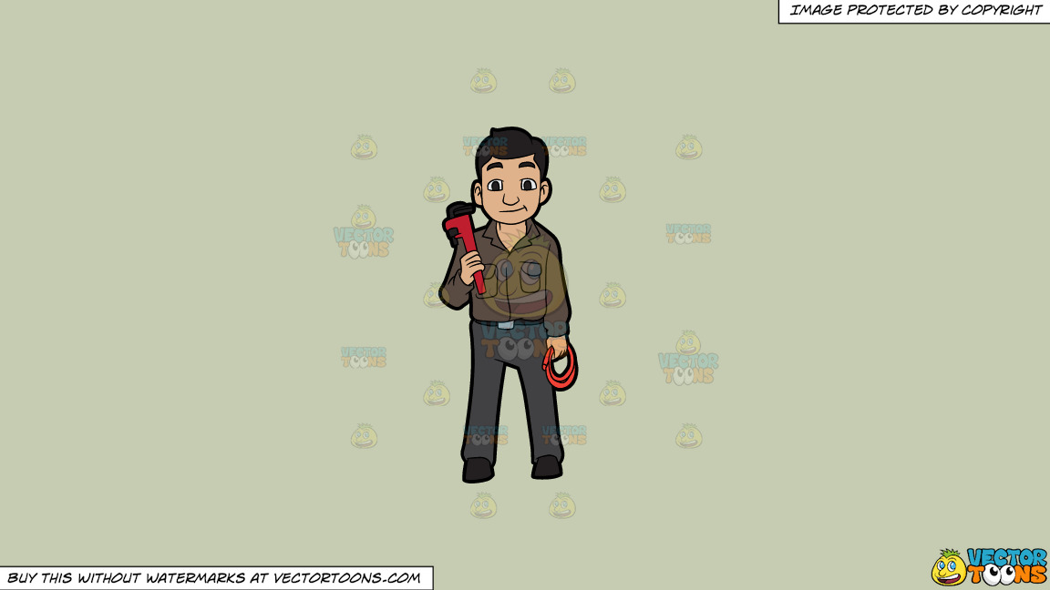 A Plumber Holding A Hose And A Wrench On A Solid Pale Silver C6ccb2 Background thumbnail