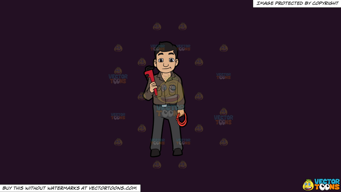 A Plumber Holding A Hose And A Wrench On A Solid Purple Rasin 241023 Background thumbnail