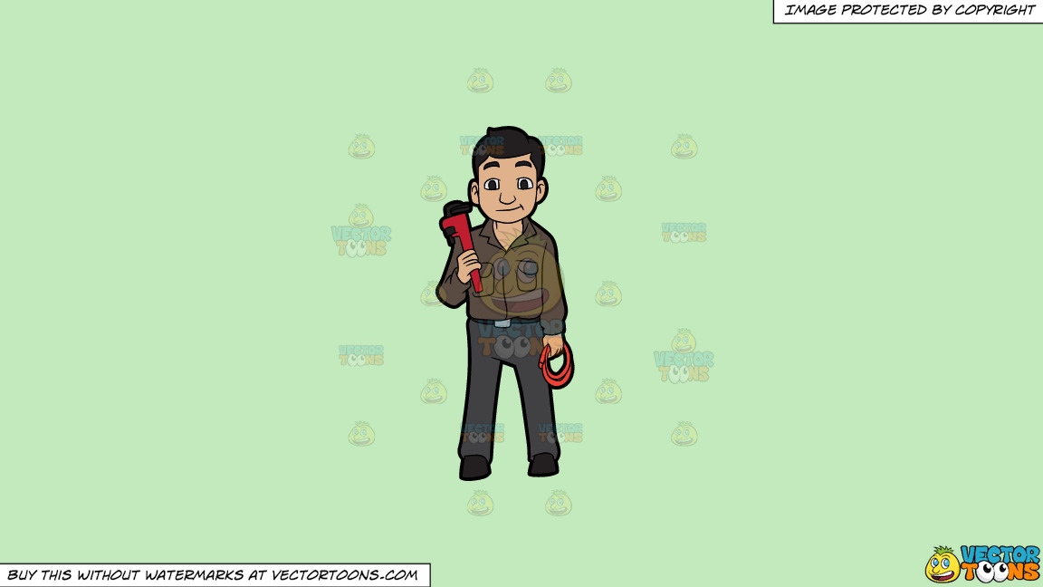 A Plumber Holding A Hose And A Wrench On A Solid Tea Green C2eabd Background thumbnail