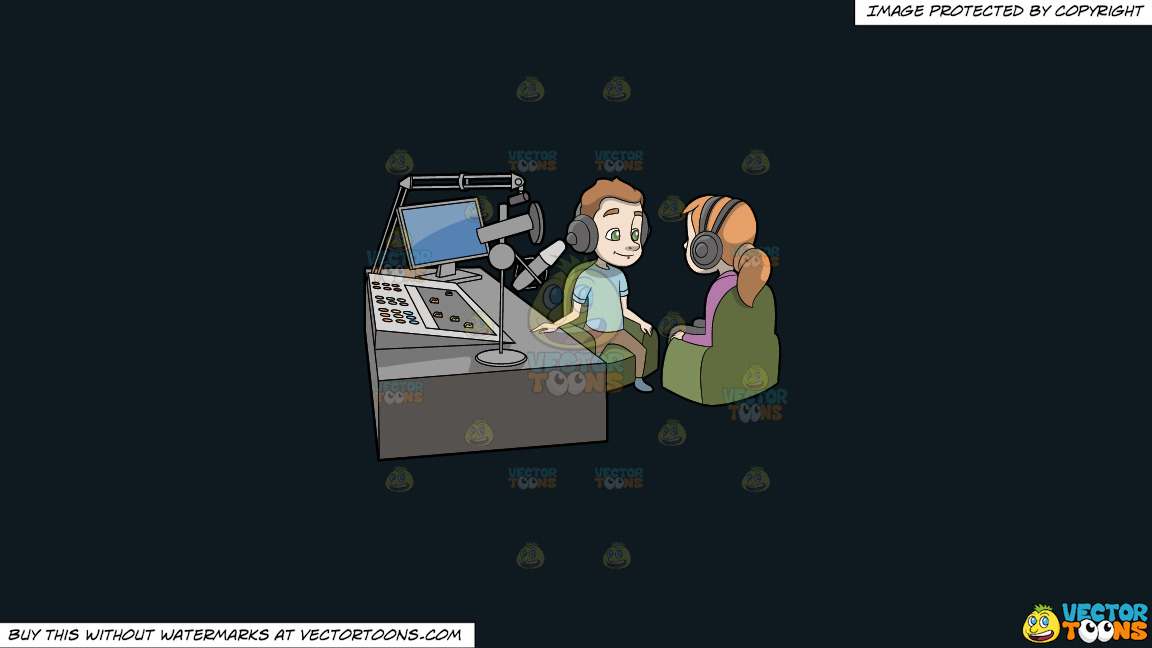 A Podcast Host Interviewing A Female Guest On A Solid Off Black 0f1a20 Background thumbnail