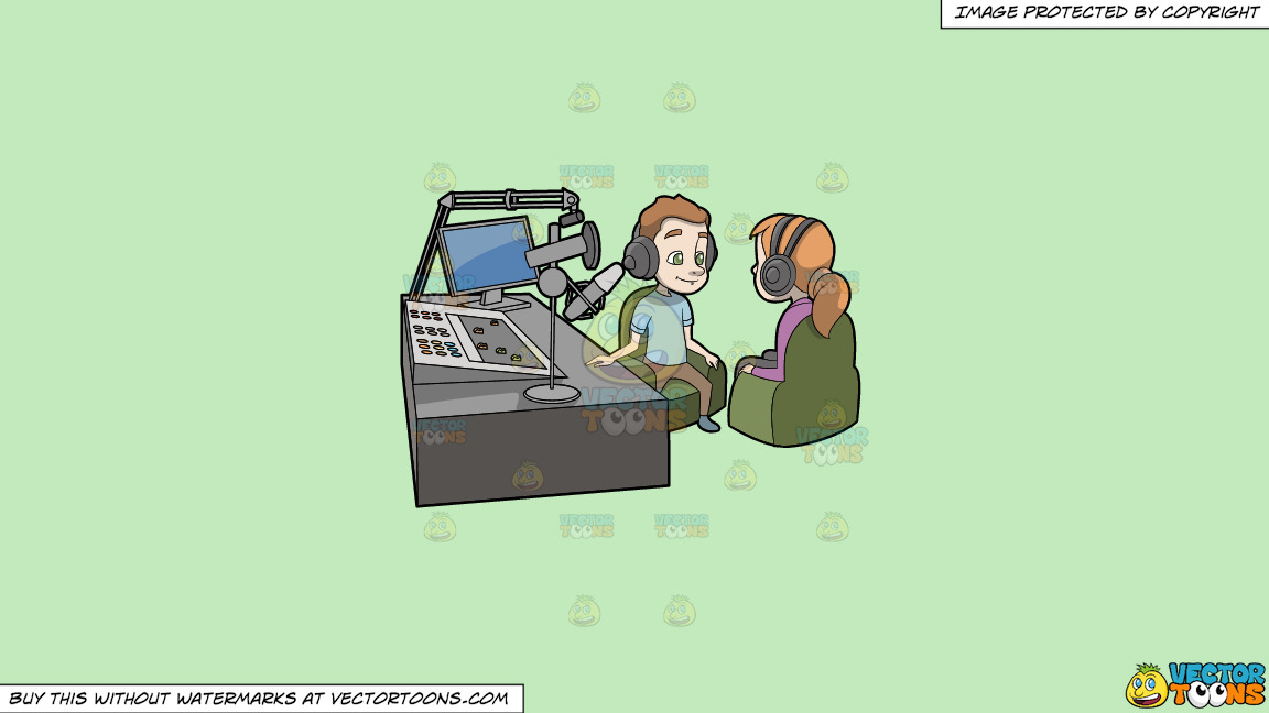 A Podcast Host Interviewing A Female Guest On A Solid Tea Green C2eabd Background thumbnail