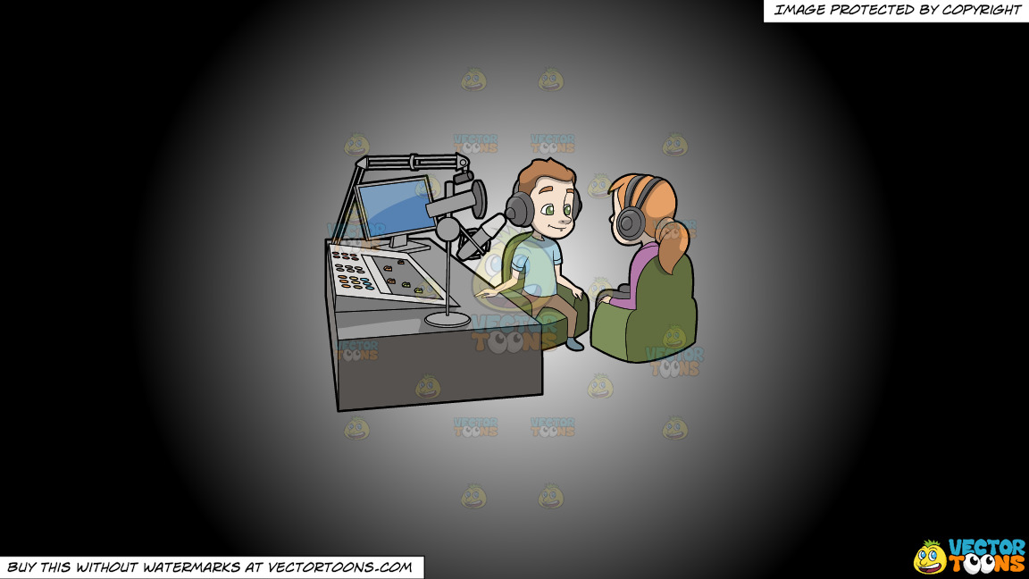 A Podcast Host Interviewing A Female Guest On A White And Black Gradient Background thumbnail