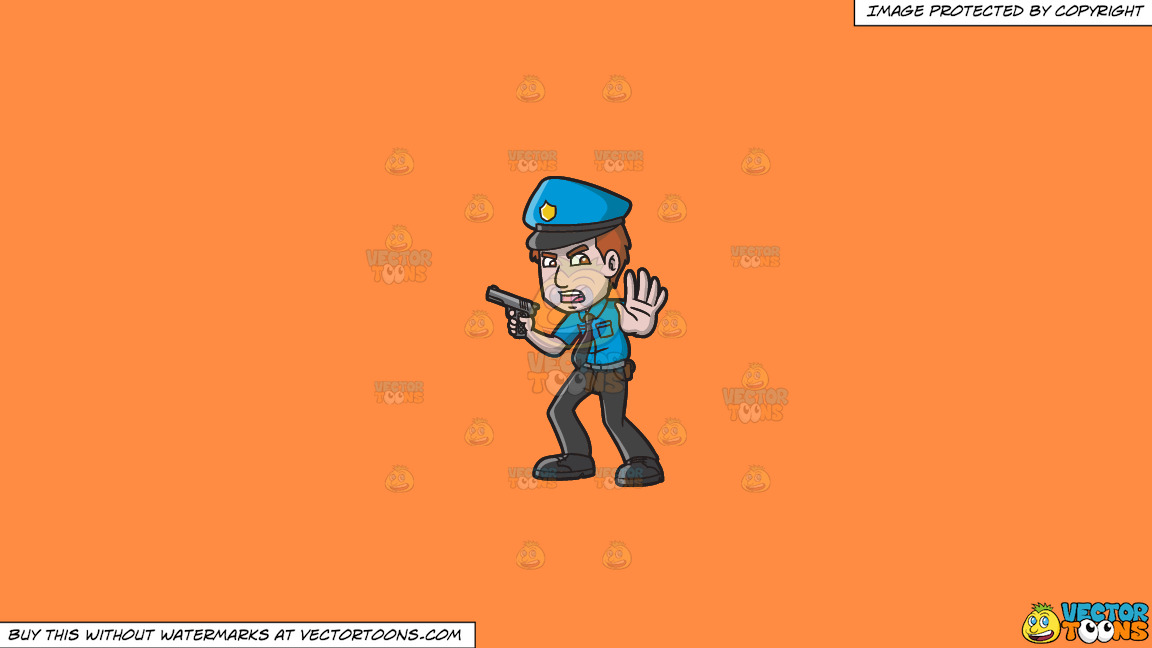 A Police Officer Asking People To Back Off On A Solid Mango Orange Ff8c42 Background thumbnail