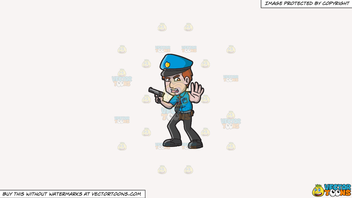 A Police Officer Asking People To Back Off On A Solid White Smoke F7f4f3 Background thumbnail