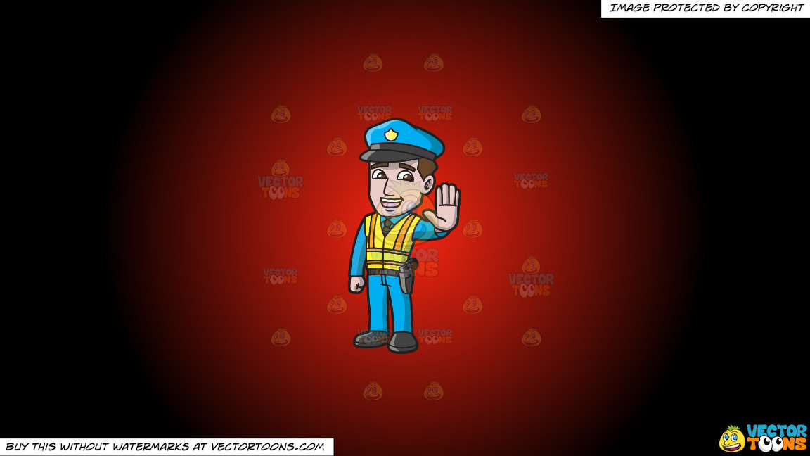 A Police Officer Directing Traffic On A Red And Black Gradient Background thumbnail