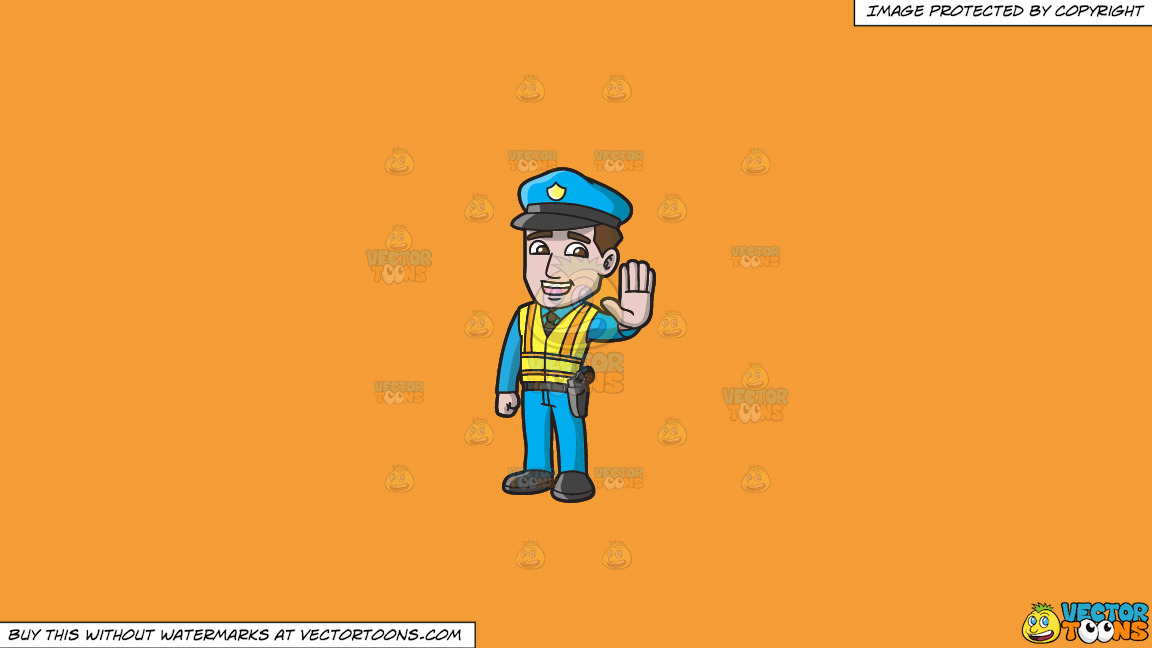 A Police Officer Directing Traffic On A Solid Deep Saffron Gold F49d37 Background thumbnail
