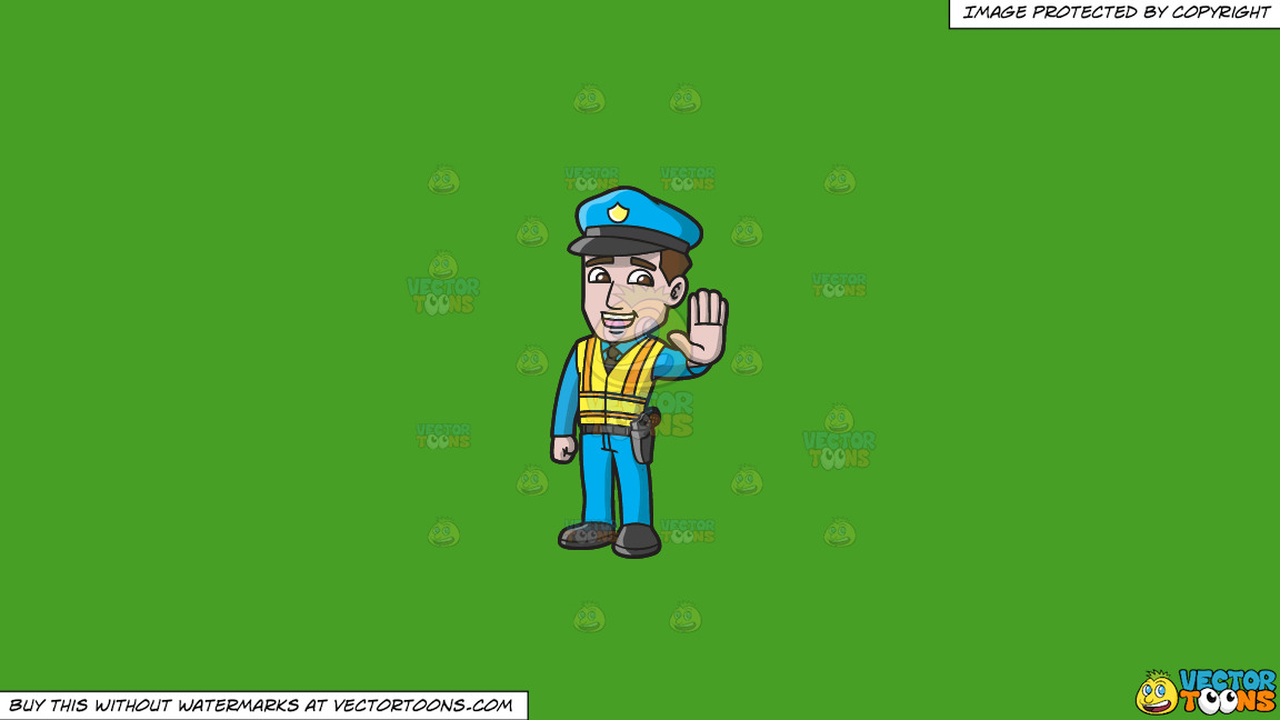 A Police Officer Directing Traffic On A Solid Kelly Green 47a025 Background thumbnail
