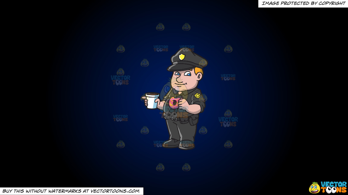 A Police Officer Eating Donuts And Drinking Coffee On A Dark Blue And Black Gradient Background thumbnail