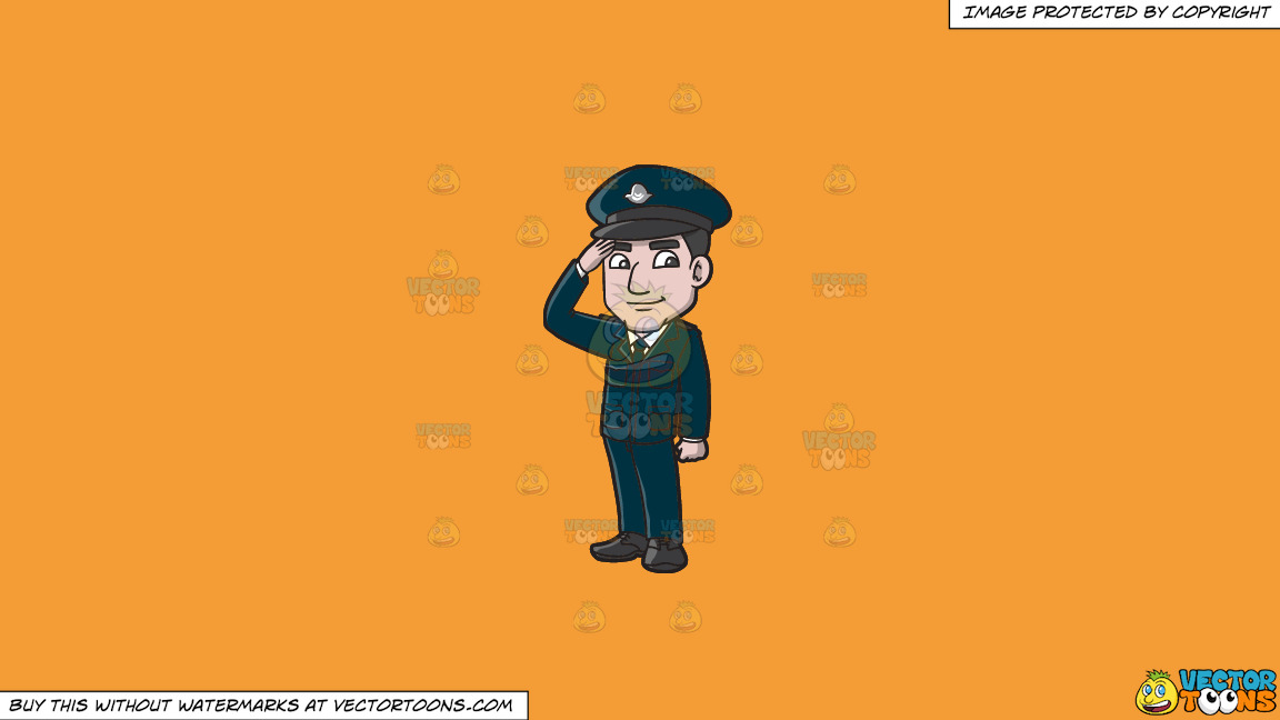 A Police Officer From Cyprus On A Solid Deep Saffron Gold F49d37 Background thumbnail