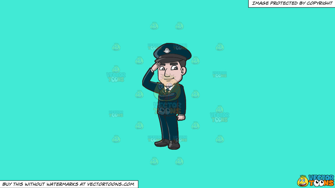 A Police Officer From Cyprus On A Solid Turquiose 41ead4 Background thumbnail