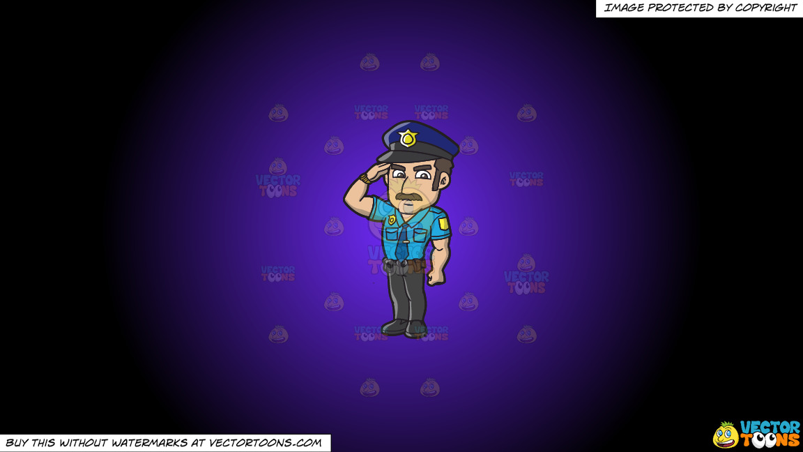 A Police Officer Salutes A Higher Authority On A Purple And Black Gradient Background thumbnail
