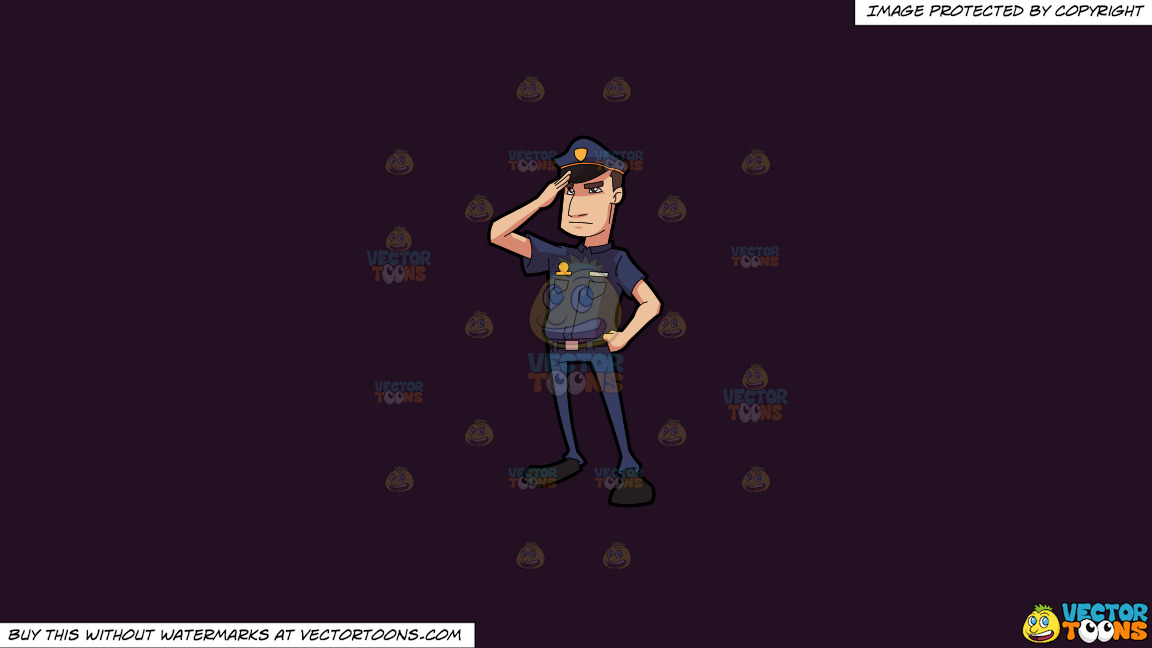 A Police Officer Salutes In Respect On A Solid Purple Rasin 241023 Background thumbnail