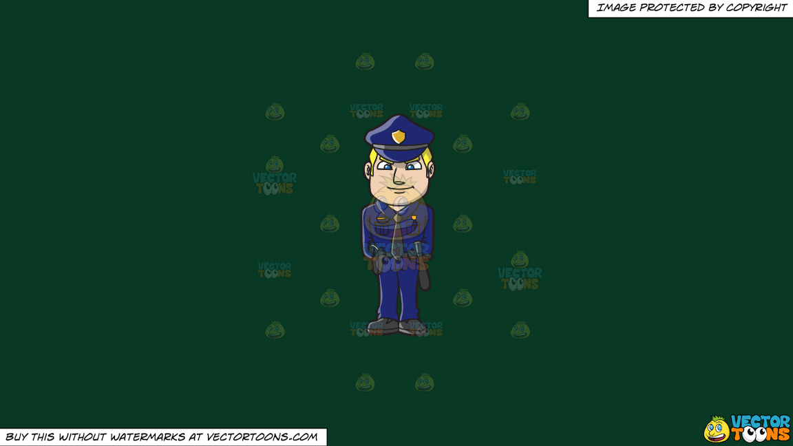 A Police Officer Standing At Attention On A Solid Dark Green 093824 Background thumbnail