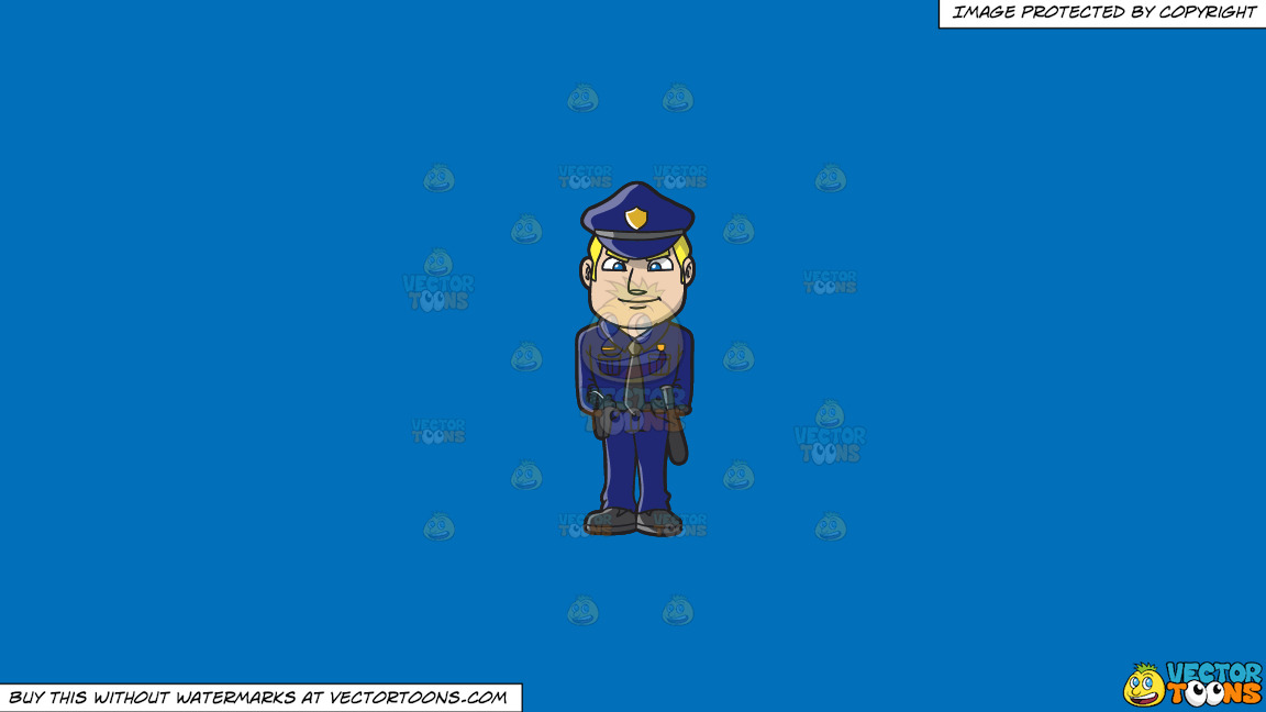 A Police Officer Standing At Attention On A Solid Spanish Blue 016fb9 Background thumbnail