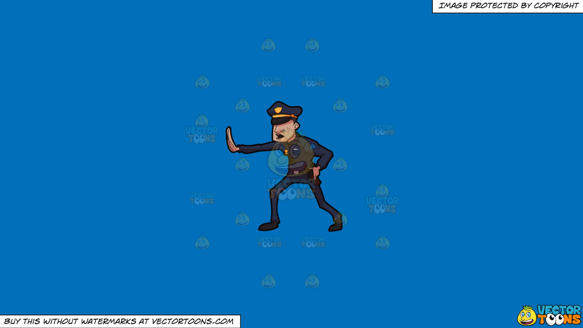 A Police Officer Telling Someone To Freeze On A Solid Spanish Blue 016fb9 Background thumbnail