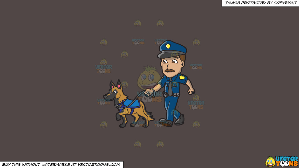 A Police Officer Walking His Dog On A Solid Quartz 504746 Background thumbnail