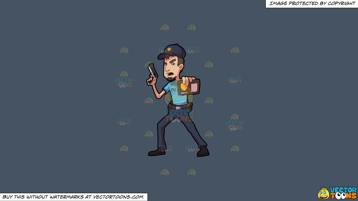 A Policeman Showing His Badge On A Solid Metal Grey 465362 Background thumbnail