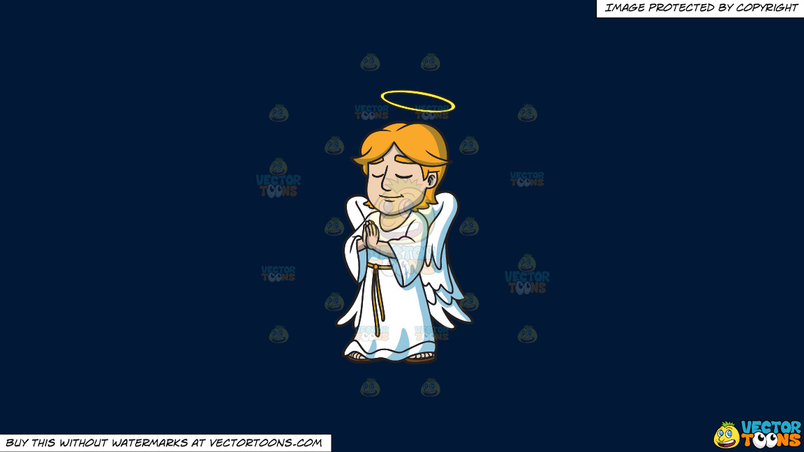 A Praying Angel On A Solid Dark Blue 011936 Background thumbnail