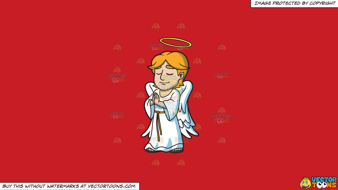 A Praying Angel On A Solid Fire Engine Red C81d25 Background thumbnail