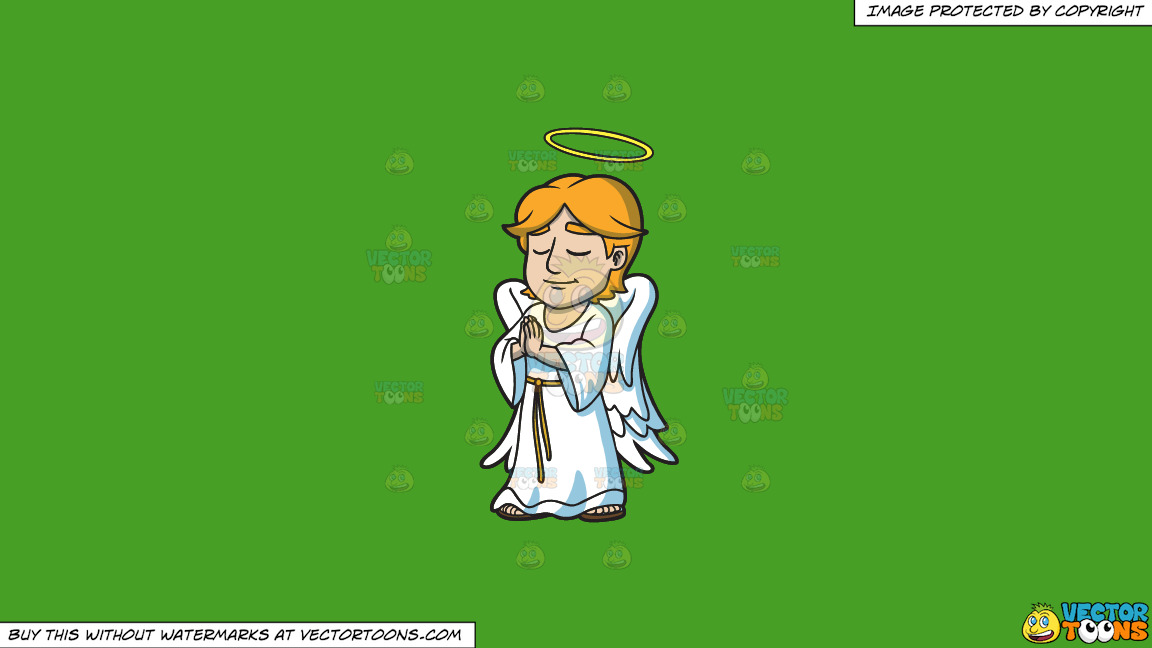 A Praying Angel On A Solid Kelly Green 47a025 Background thumbnail