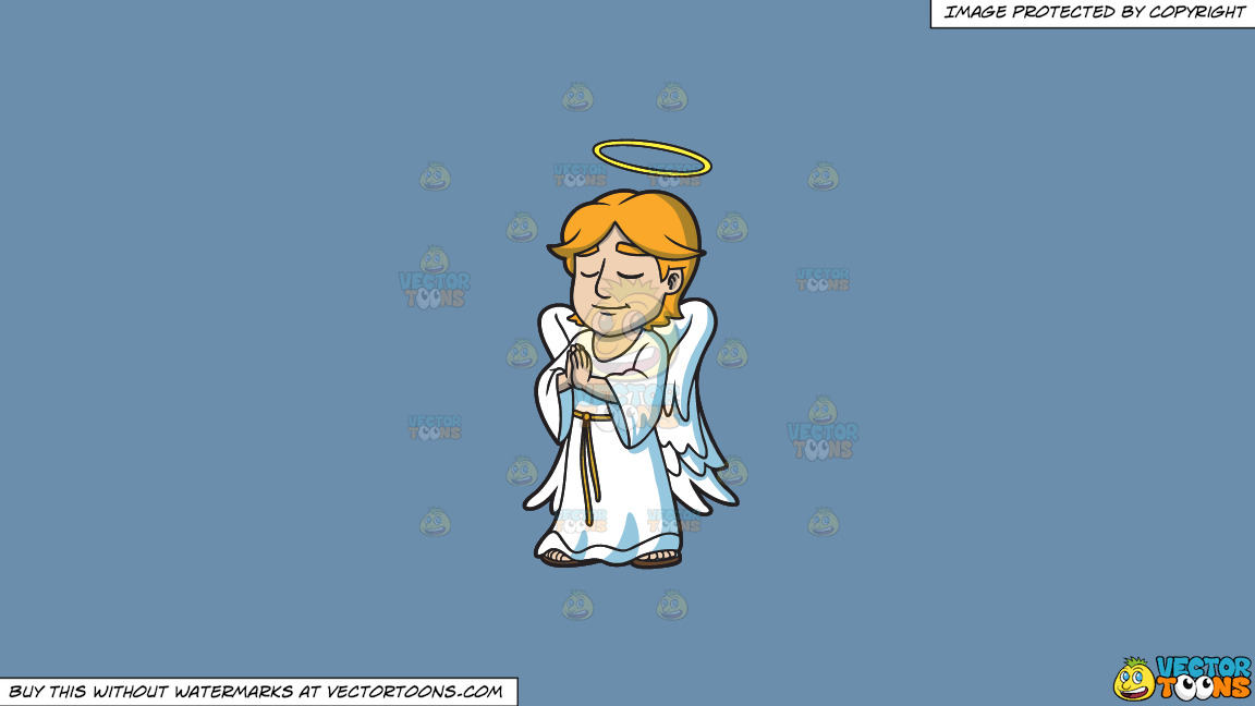 A Praying Angel On A Solid Shadow Blue 6c8ead Background thumbnail