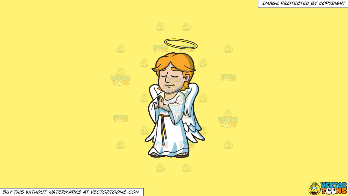 A Praying Angel On A Solid Sunny Yellow Fff275 Background thumbnail