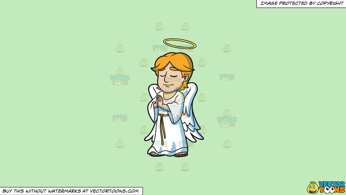 A Praying Angel On A Solid Tea Green C2eabd Background thumbnail
