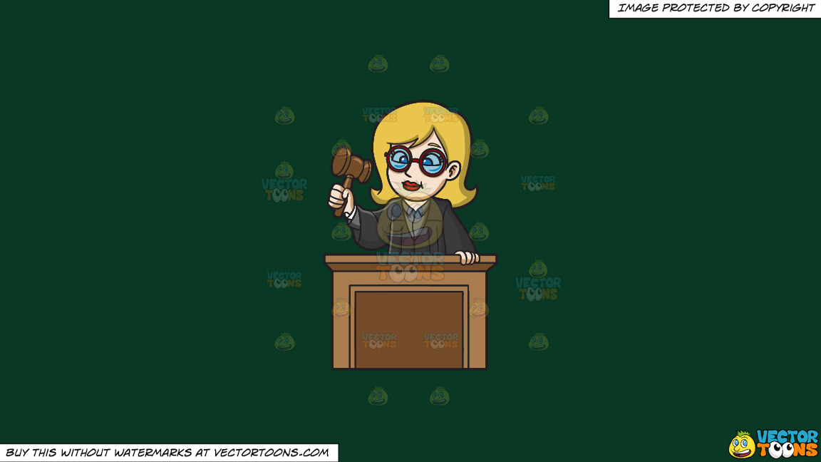 A Presiding Female Judge On A Solid Dark Green 093824 Background thumbnail