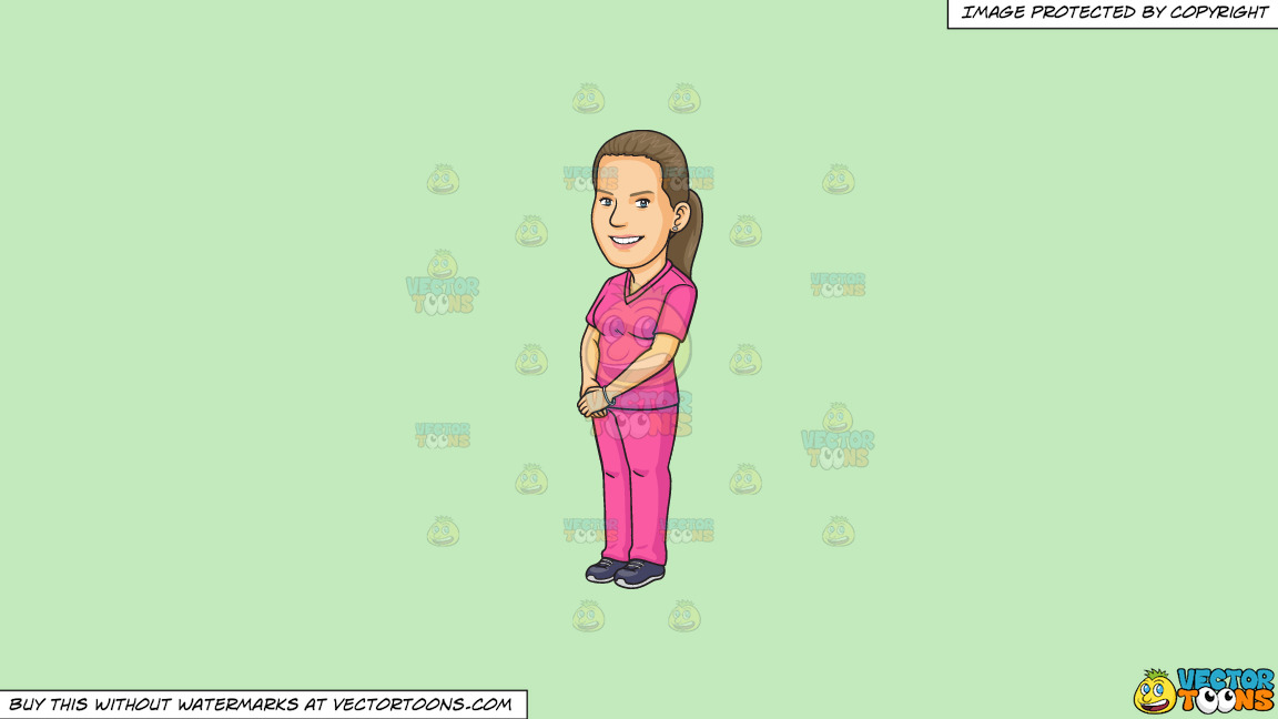 A Pretty Dental Assistant In Pink Scrubs On A Solid Tea Green C2eabd Background thumbnail
