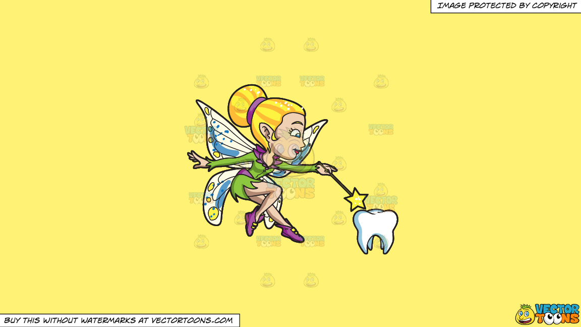A Pretty Fairy Casting Magic On A Tooth On A Solid Sunny Yellow Fff275 Background thumbnail