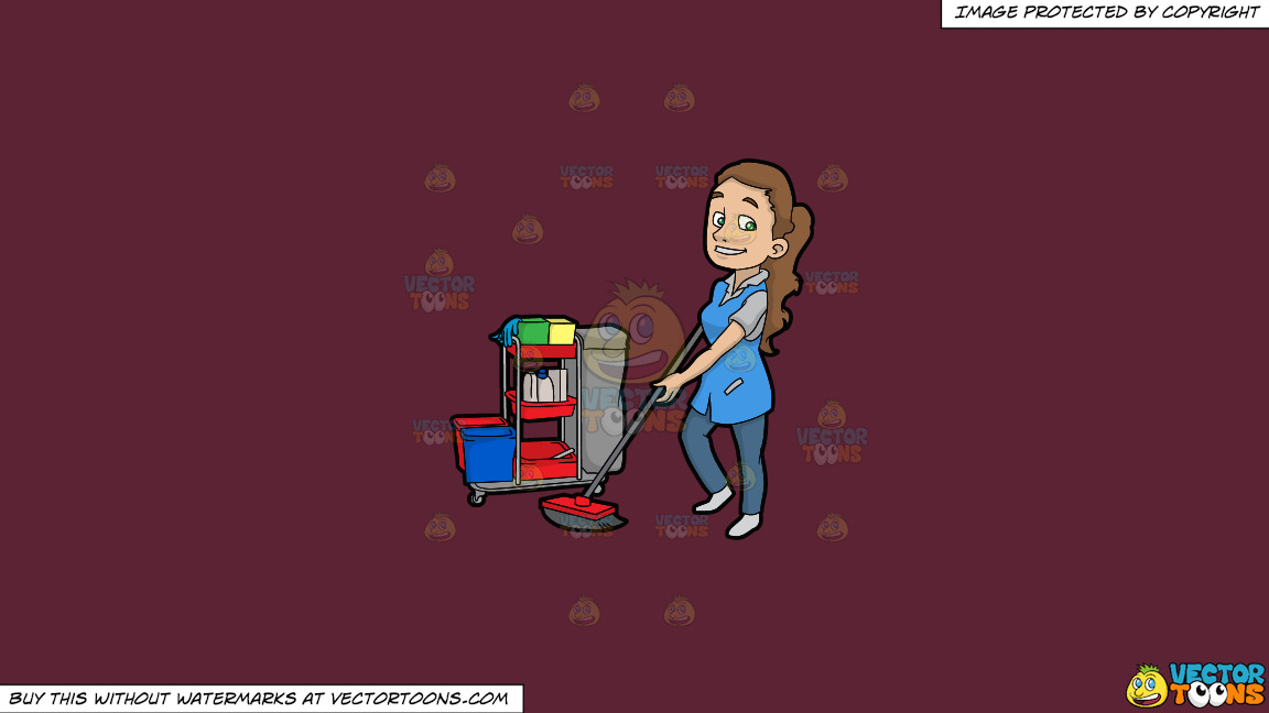 A Pretty Female Janitor Cleaning The Floor On A Solid Red Wine 5b2333 Background thumbnail