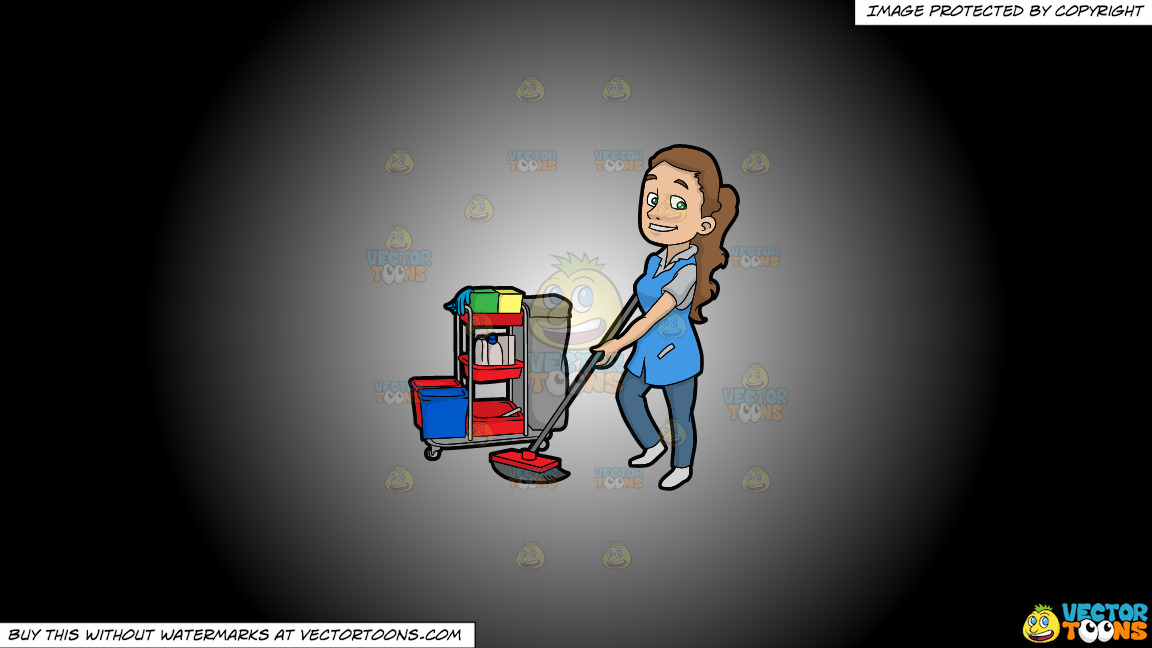 A Pretty Female Janitor Cleaning The Floor On A White And Black Gradient Background thumbnail