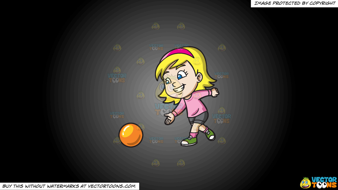 A Pretty Girl Enjoying The Game Of Bowling On A Grey And Black Gradient Background thumbnail