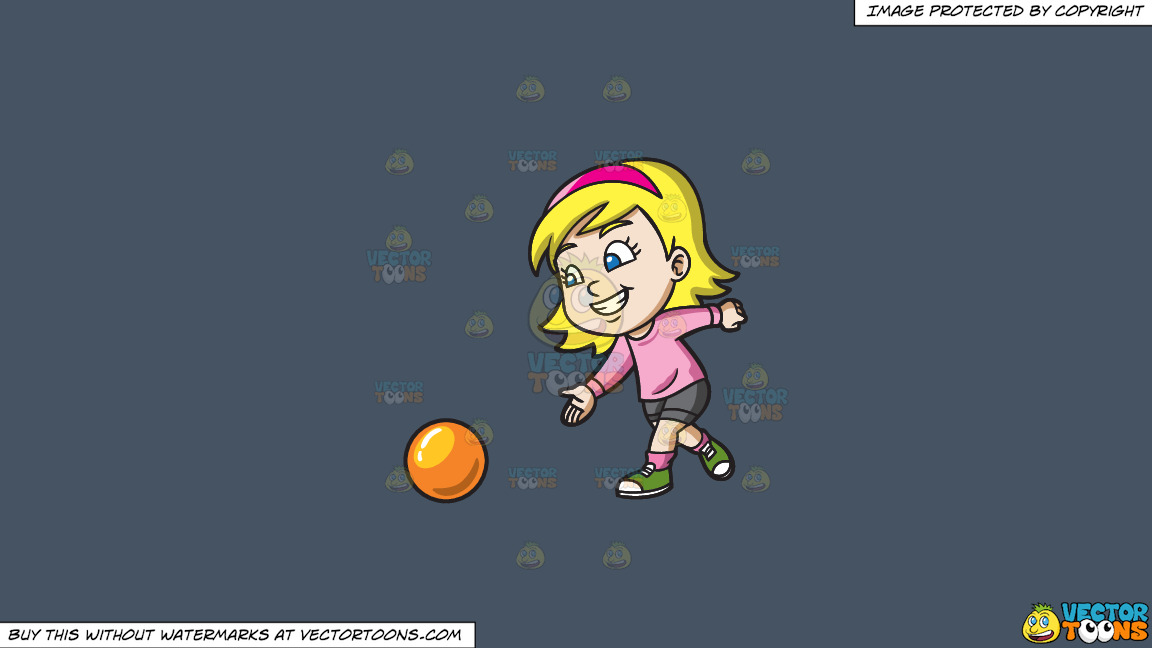 A Pretty Girl Enjoying The Game Of Bowling On A Solid Metal Grey 465362 Background thumbnail