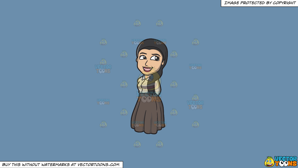 A Pretty Jewish Woman On A Solid Shadow Blue 6c8ead Background thumbnail