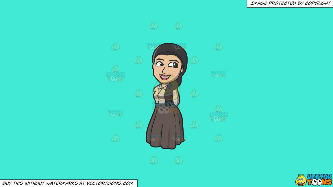 A Pretty Jewish Woman On A Solid Turquiose 41ead4 Background thumbnail